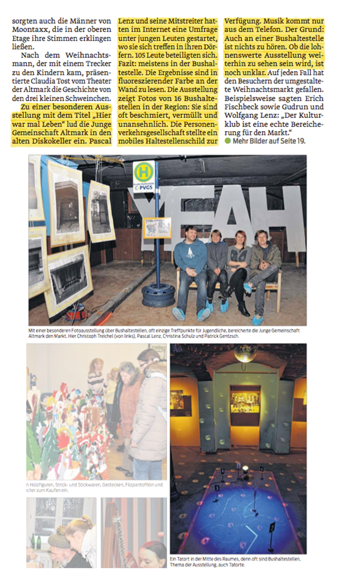 Ein Artikel erwähnt unsere Ausstellung im Schloss Kunrau
